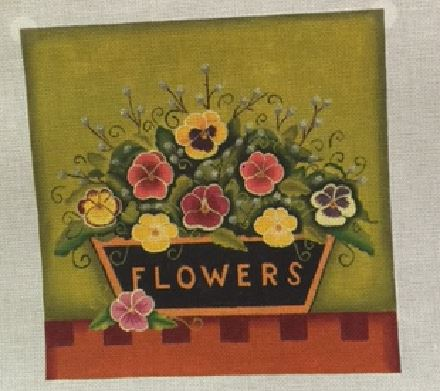click here to view larger image of Pansies (hand painted canvases)