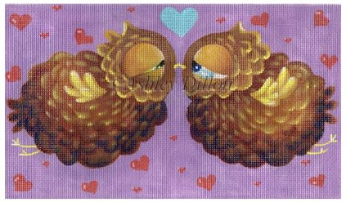 click here to view larger image of Kissing Owls (hand painted canvases)
