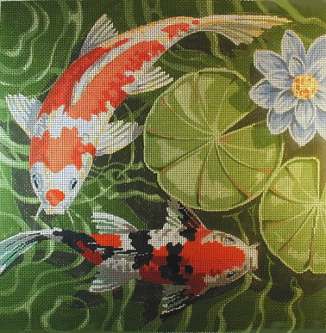 click here to view larger image of Picture of Koi (Left facing) (hand painted canvases)