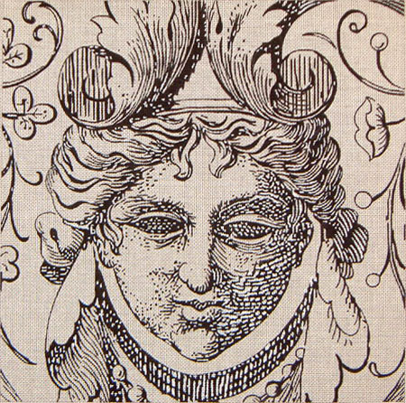 click here to view larger image of Etching Face Lady (hand painted canvases)
