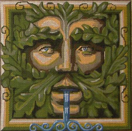 click here to view larger image of Green Man Face (hand painted canvases)