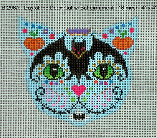 click here to view larger image of Day Of The Dead Cat With Bat Ornament (hand painted canvases)