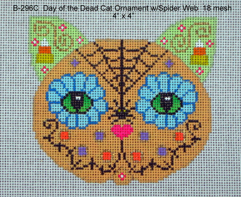 click here to view larger image of Day of the Dead Cat Ornament with Spider Web (hand painted canvases)