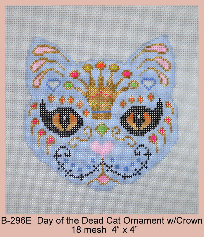click here to view larger image of Day of the Dead Cat Ornament With Crown (hand painted canvases)