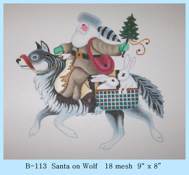 click here to view larger image of Santa on Wolf (hand painted canvases)