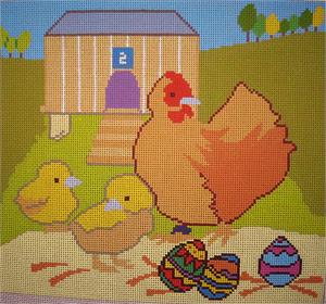 click here to view larger image of Hen That Laid Easter Eggs, The (hand painted canvases)
