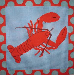 click here to view larger image of Lobster With Aqua Polka Dots (hand painted canvases)