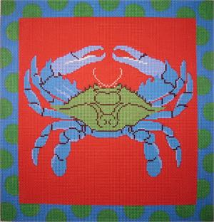 click here to view larger image of Blue Crab on Coral With Polka Dot Border (hand painted canvases)