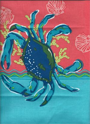 click here to view larger image of Blue Crab on Turquoise and Coral (hand painted canvases)