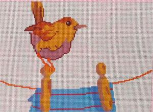 click here to view larger image of Wren On Clothesline (hand painted canvases)