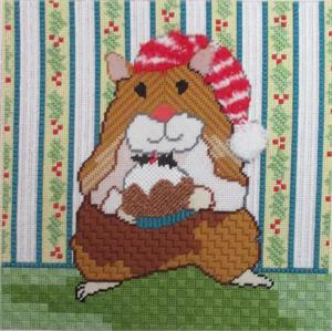 click here to view larger image of Christmas Pudding Hamster (hand painted canvases)