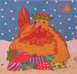 click here to view larger image of Christmas Hen (hand painted canvases)
