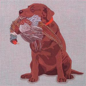 click here to view larger image of Chocolate Bird Dog (hand painted canvases)