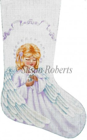click here to view larger image of Angel and Kitty Stocking (hand painted canvases)