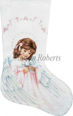 click here to view larger image of Angel and Dove Stocking (hand painted canvases)