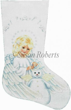 click here to view larger image of Angel and Snowman Stocking (hand painted canvases)