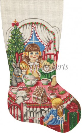 click here to view larger image of Christmas Tea Party Stocking - 18ct (hand painted canvases)