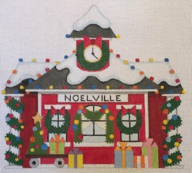 click here to view larger image of Christmas Train Depot (hand painted canvases)