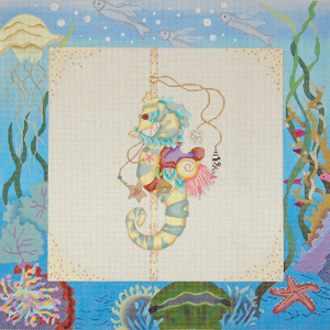 click here to view larger image of Fantasy Sealife Carousel - Seahorse (hand painted canvases)