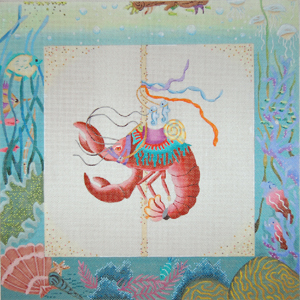 click here to view larger image of Fantasy Sealife Carousel - Lobster (hand painted canvases)
