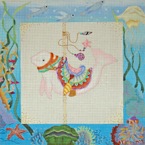 click here to view larger image of Fantasy Sealife Carousel - Beluga Whale (hand painted canvases)