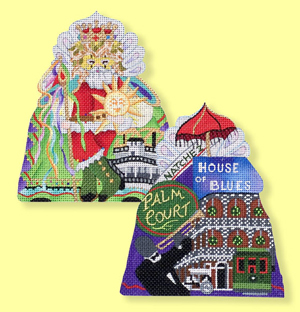 click here to view larger image of New Orleans Mardi Gras Santa - 18ct - front only (hand painted canvases)