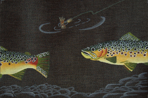 click here to view larger image of Brown Trout and Dry Fly (hand painted canvases)