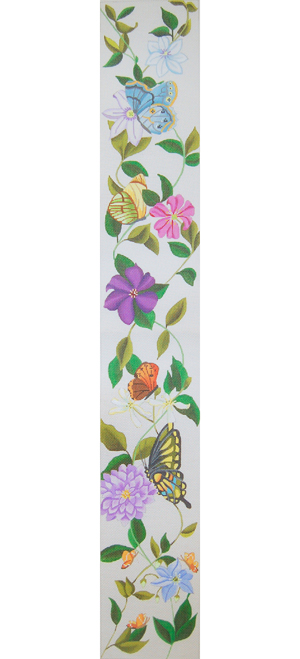 click here to view larger image of Butterflies and Clementis Bell Pull (hand painted canvases)