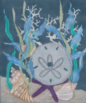 click here to view larger image of Seahorse and Sand Dollar Clock (hand painted canvases)