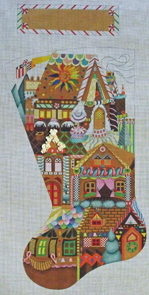Gingerbread Village Stocking - click here for more details