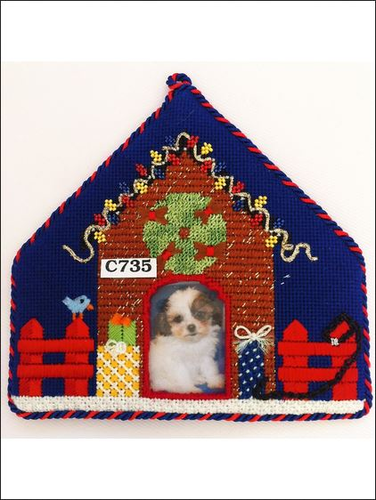 click here to view larger image of Christmas In The Doghouse (hand painted canvases)