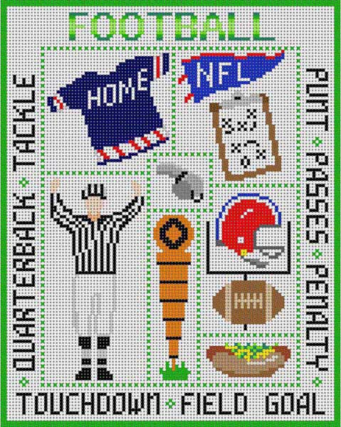 click here to view larger image of Football Sampler (hand painted canvases)