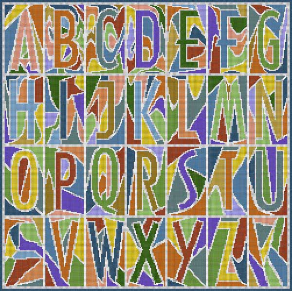 click here to view larger image of Abstract Alphabet Muted (hand painted canvases)