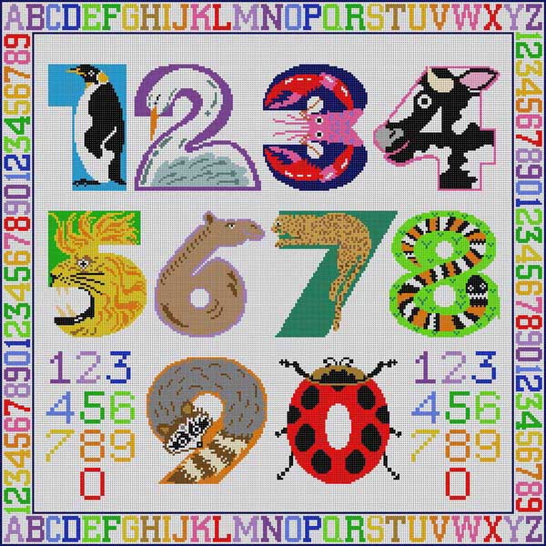 click here to view larger image of Animal Numbers (hand painted canvases)