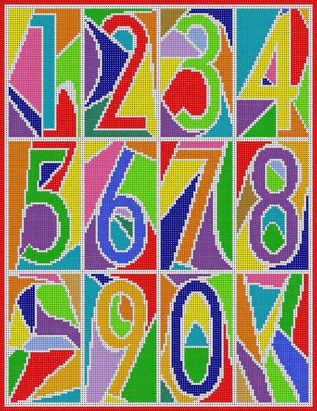 click here to view larger image of Abstract Numbers Primary (hand painted canvases)