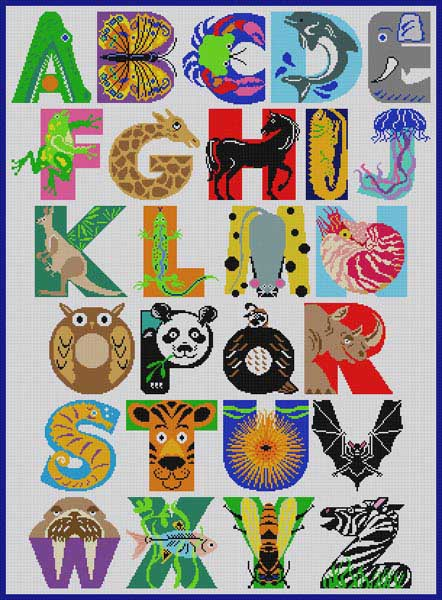 click here to view larger image of Animal Alphabet Rug (hand painted canvases)