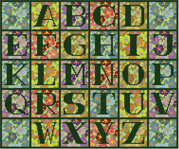 click here to view larger image of Floral Background Alphabet (hand painted canvases)