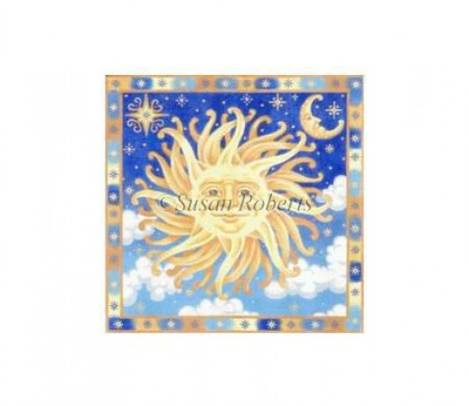 click here to view larger image of Golden Sun and Moon (hand painted canvases)