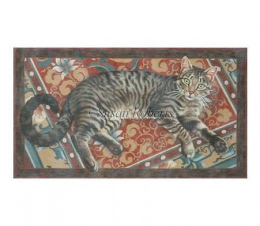 click here to view larger image of Cat On A Chinese Rug (hand painted canvases)