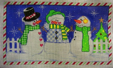 click here to view larger image of Three Snowmen (hand painted canvases)