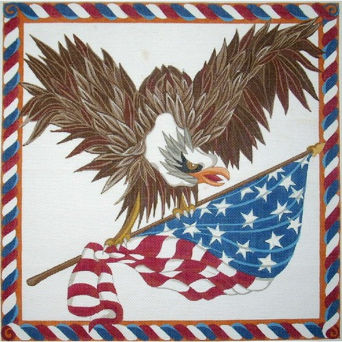 click here to view larger image of Eagle and Flag (hand painted canvases)