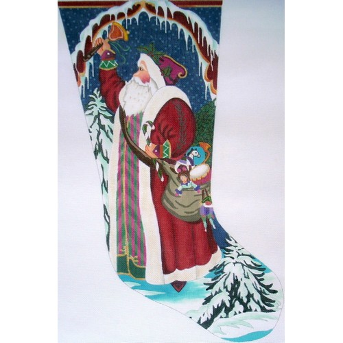 click here to view larger image of Bell Ringing Santa Stocking   (hand painted canvases)