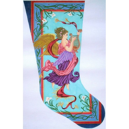 click here to view larger image of Art Nouveau Angel Stocking   (hand painted canvases)