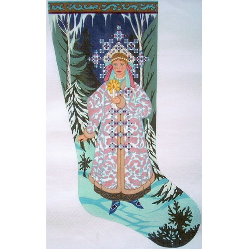 click here to view larger image of Snowmaiden - Snegurotchka Stocking (hand painted canvases)