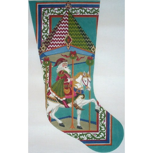 click here to view larger image of Carousel Saint Nick Stocking (hand painted canvases)