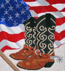 click here to view larger image of American Cowboy Boots (hand painted canvases)