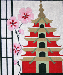 click here to view larger image of Pagoda Birdhouse (hand painted canvases)