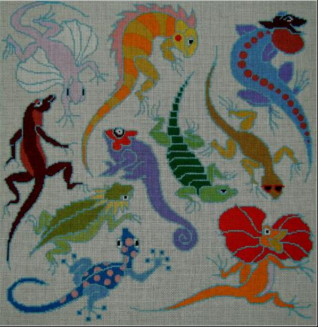 click here to view larger image of Leapin Lizards (hand painted canvases)