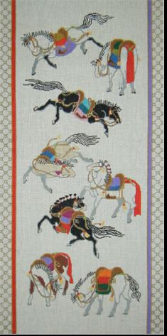 click here to view larger image of Hokusai Horses Bordered (hand painted canvases)
