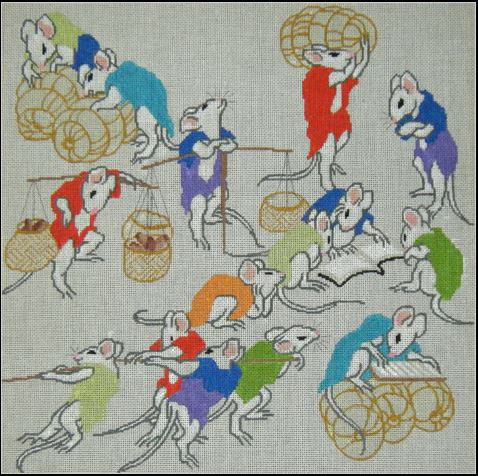click here to view larger image of Hokusai Mice (hand painted canvases)